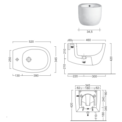 Nic Design Milk биде подвесное белое 004 278