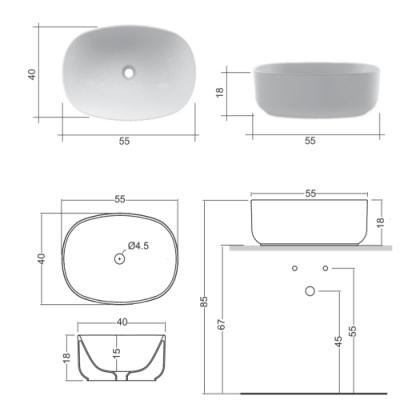 Nic Design Semplice раковина накладная цветная 001 376