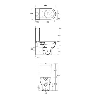 Simas E-line унитаз напольный с бачком EL07+EL09+D22